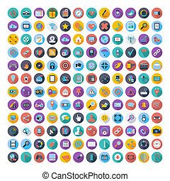 Social media and network color flat icons. - 121 Social...