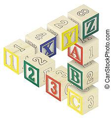 123, abc, bloques, alfabeto, ilusión óptica
