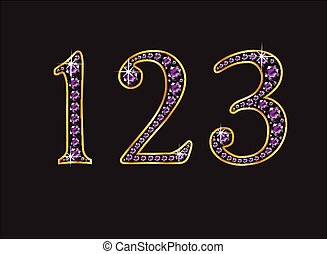 123 Amethyst Jeweled Font with Gold