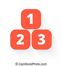 123, blöcke, in, orange, mit, lassen schatten fallen, weiß