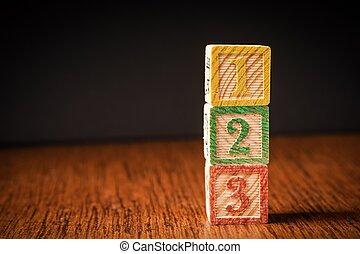 123 blocks arranged in stack