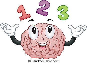 123, hjärna, numrerar, maskot