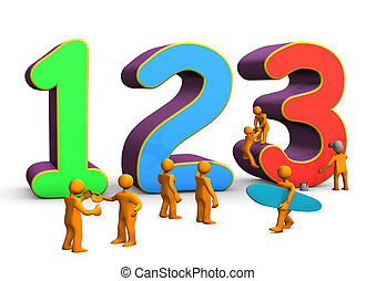 123 Math - Colorful numbers 123 with orange cartoon...