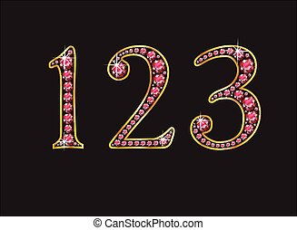 123 Ruby Jeweled Font with Gold - 123 in stunning ruby...