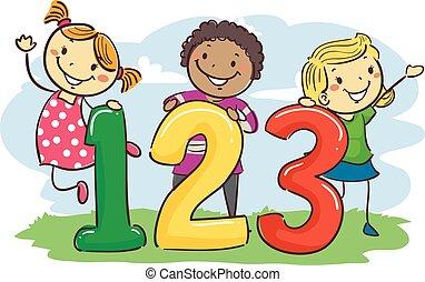 123, wtykać, dzieciaki
