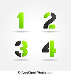 1234, 3d, verde, estêncil, números