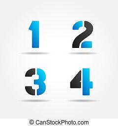1234, azul, plantilla, números, 3d