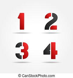 1234, estêncil, números, vermelho, 3d