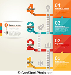 1234, plano, disposición, éxito, escalera, número, paso, diseño