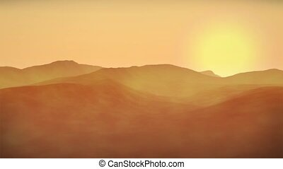 Sahara Arabian desert sandstorm wilderness environment sunset animation. Great for themes of travel, wilderness, challenge, extremes, oil industry, middle-east.