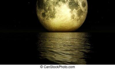 1275 Romantic Rising Moon Ocean Sky