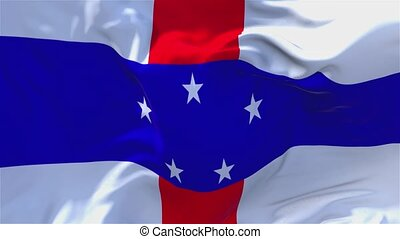 129. Netherlands Antilles Flag Waving Continuous Seamless Loop Background.