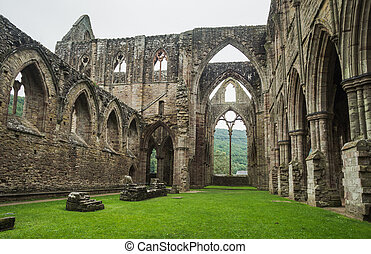 12e, abbaye, tintern, cistercian, église, ruines, ancien