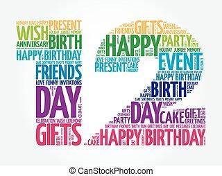 12th, aniversário, palavra, nuvem, feliz