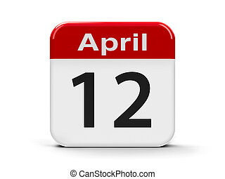 12th April - Calendar web button - Twelfth of April -...