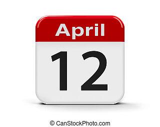 12th April - Calendar web button - Twelfth of April -...
