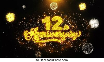 12th Happy Anniversary Wishes Greetings card, Invitation,...