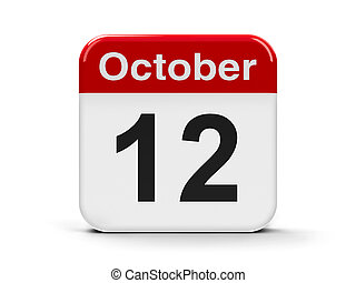 12th October - Calendar web button - The Twelfth of October,...