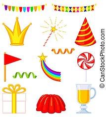 13, éléments, coloré, ensemble, fête, dessin animé