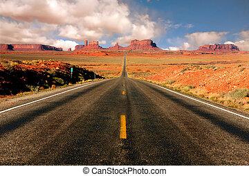 13, arizona, mile, monumentvalley, synhåll