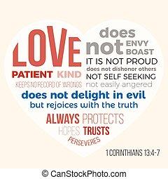 13, bibel, liebe, 4-7, 1, vers, corinthians, patient, evangelist