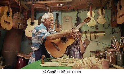 13-Boy Learns Play Guitar With Senior Man Grandpa