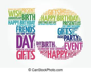 13, cumpleaños, palabra, nube, feliz
