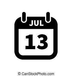 13, enkel, juli, isoleret, sort, dato, hvid, kalender, ikon