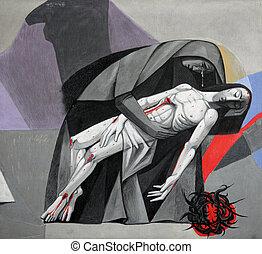 13, estaciones, de, el, cruz, jesus', cuerpo, es, quitado,...