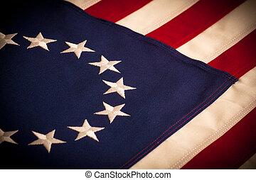 13, estrella, -, bandera, betsy, norteamericano, ross