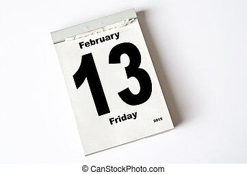 13. February 2015 - calendar sheet  13 February 2015