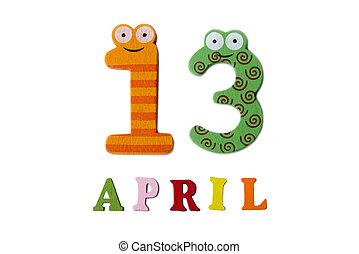 13, letters., avril, nombres, fond, blanc