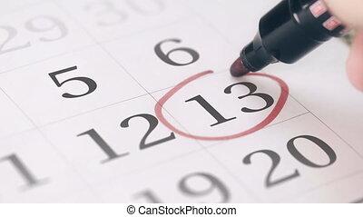 13, rappel, marque, jour, mois, treizième