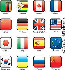 13), set, bandiera, icona, (part