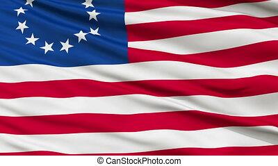 13 Stars Betsy Ross USA Close Up Waving Flag