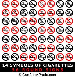 13, symboles, de, cigarettes, 52, rond, signes