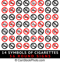 13 symbols of cigarettes, 52 round signs