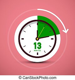 13 Thirteen Minutes Clock Icon. Vector Time Symbol with Arrow.