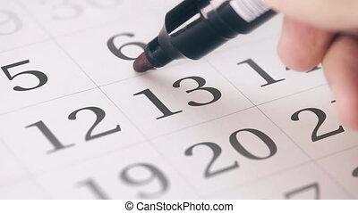 13, treizième, marque, rappel, mois, dessin, jour