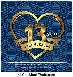 13 years anniversary golden. anniversary template design for web, game ,Creative poster, booklet, leaflet, flyer, magazine, invitation card - Vector
