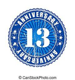13  Years anniversary stamp.