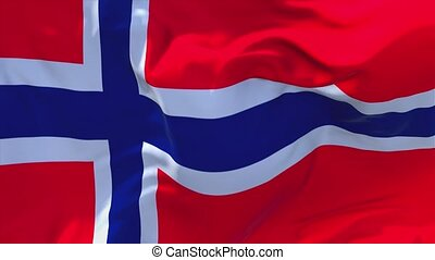 130. Norway Flag Waving in Wind Continuous Seamless Loop...
