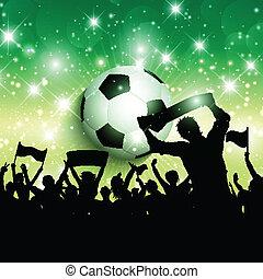 1305, menigte, voetbal, achtergrond, voetbal, of