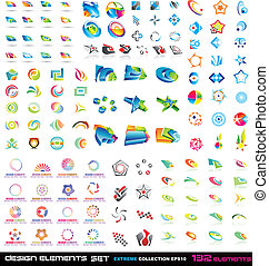 Abstract Design Elements 2D and 3D Extreme Collection with 132 colorful pieces
