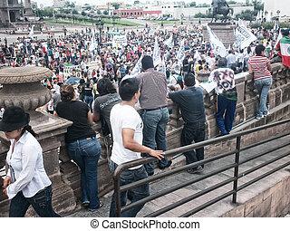 132 Movement protest march - MONTERREY, NUEVO LEON/MEXICO -...