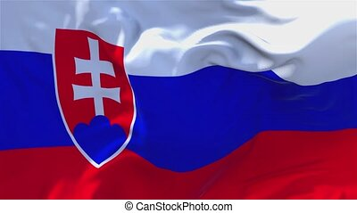 132. Slovakia Flag Waving in Wind Continuous Seamless Loop Background.