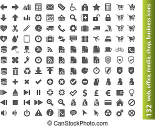 132 web, office, media, buisness icons