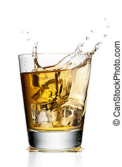 133 glass of apple juice with ice cubes