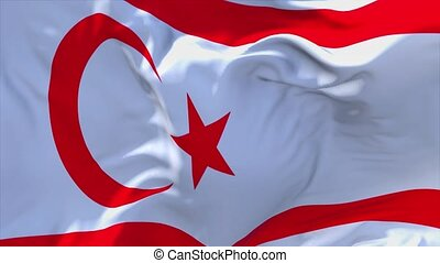 137. Turkish Republic of Northern Cyprus Flag Waving Seamless Loop Background.