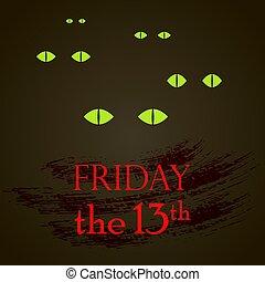 13e, yeux, chat, vendredi